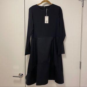 Cos silk dress sheer deep v neck party dark blue